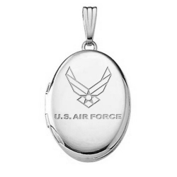 Sterling Silver Oval Air Force Picture Locket