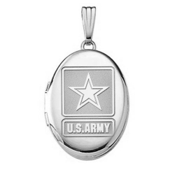 Sterling Silver Oval Army Picture Locket