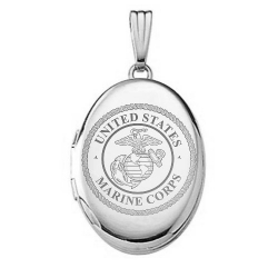 Sterling Silver Oval Marine Corps Picture Locket