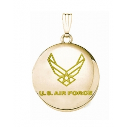 14k Yellow Gold Round Air Force Picture Locket