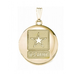 14k Yellow Gold Round Army Picture Locket