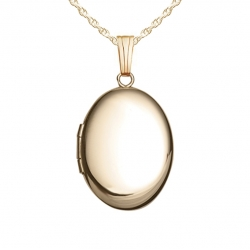 GOLD FILLED Small Oval Locket with Chain