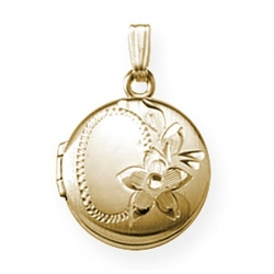 GOLD FILLED Small Round Locket with Chain