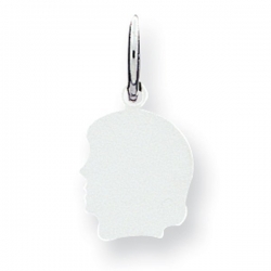 14k Solid White Gold Engravable Child s Face