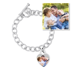 Sterling Silver Tiffany Style Engravable Bracelet W  Toggle Lock Jewel