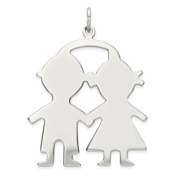 14k White Gold Engravable Two Boy s