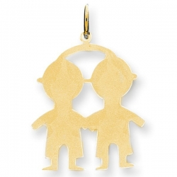 14k Yellow Gold Engravable Two Boys