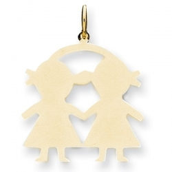 14k Yellow Gold Engravable Two Girls