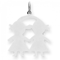 14k White Gold Engravable Two Girls