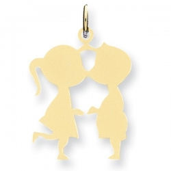 14k Yellow Gold Engravable Kissing Couple