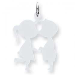 14k White Gold Engravable Couple Kissing