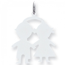 14k White Gold Engravable Boy   Girl