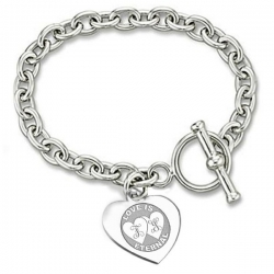 Sterling Silver Personalized Double Heart Message W  Toggle Lock