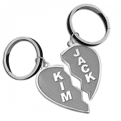 Sterling Silver Broken Heart High Polished Engravable Keychains