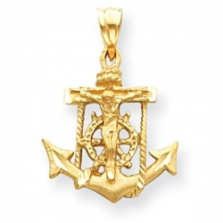14K Yellow Gold Mariner s Cross Pendant