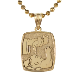 14k Satin   Polished Baptism Pendant