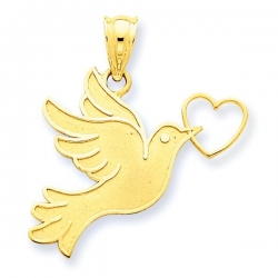 14k Yellow Gold Dove with Heart