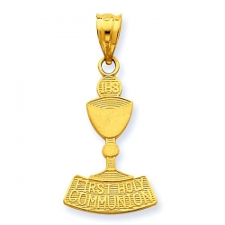 14k Yellow Gold First Holy Communion Chalice Pendant