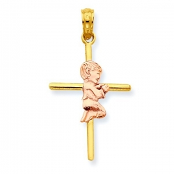 14k Two Tone Praying Boy Cross Pendant