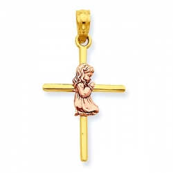 14k Two Tone Praying Girl Cross Pendant