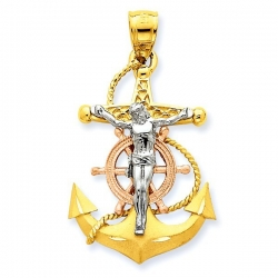 14K Tri Color Gold Mariner s Cross Pendant