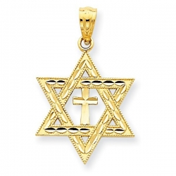 14K Yellow Gold Diamond Cut Star of David with Cross Medal