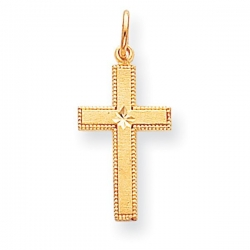 14k Gold Satin w  Diamond Cut Edge Cross Pendant