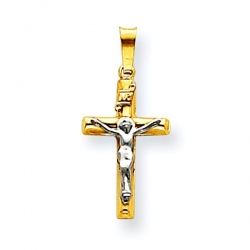 14k Two tone INRI Crucifix Pendant