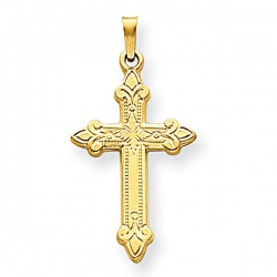 14k Yellow Gold Hollow Fleur de lis Cross Pendant