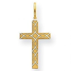 14k Yellow Gold Laser Designed Cross Charm