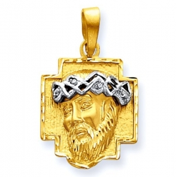 14K Two Tone Gold Christ Head and Cross with Diamond Cut Edge