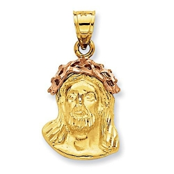 14K Two Tone Gold  Ecce Homo  Christ Head Pendant