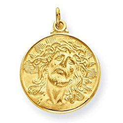 14K Yellow Gold  Ecce  Homo  Christ Head Thick Round Charm