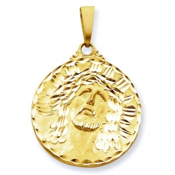 14K Yellow Gold XL  Ecce  Homo  Christ Head Diamond Cut Round