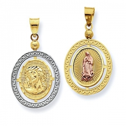 14K Tri Color Ecce Homo   Our Lady Guadalupe Oval w  Greek Key Border