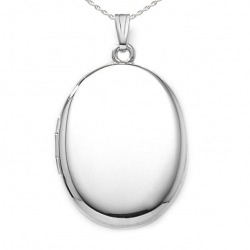 Sterling Silver XXL Plain Oval Locket