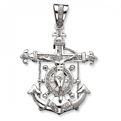 Sterling Silver Gold Mariner s Cross Pendant w  Cubic Zirconias