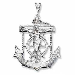 Sterling Silver Gold Mariner s Cross Pendant