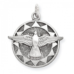 Sterling Silver Antiqued Holy Spirit Medal