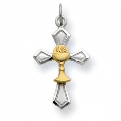 Sterling Silver Cross Communion Charm with Gold Plated Chalice
