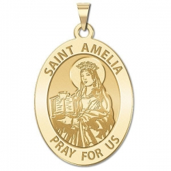Saint Amelia Religious Medal   Oval  EXCLUSIVE