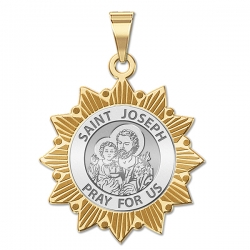 Saint Joseph Two Tone Sun Border Medal  EXCLUSIVE