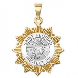 Saint Florian Two Tone Sun Border Medal  EXCLUSIVE