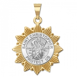 Saint Christopher Two Tone Sun Border Medals  EXCLUSIVE