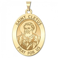 Saint Cletus Religious Medal   Oval  EXCLUSIVE