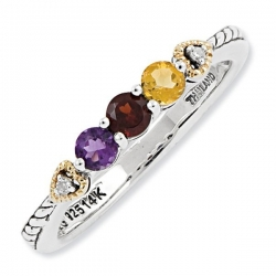 Sterling Silver   14k Three stone and Diamond Mother s Ring