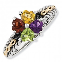 Sterling Silver   14k Gold Antiqued Mother s Ring w  Four Heart Stones