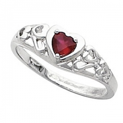 Solid Gold Heart Shaped Birthstone Promise Ring