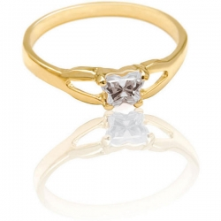 Bfly Cubic Zirconia  April   Birthstone Ring