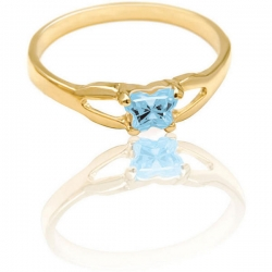 Bfly Aquamarine  March  Birthstone Ring